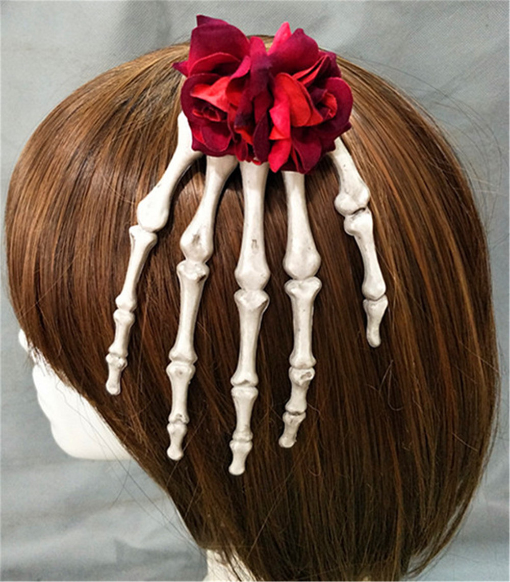Halloween purim carnival bloodsucking rose blood drop hand bone flower hairpin Lolita horror devil headpiece Gothic props