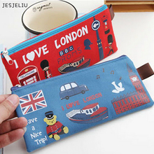 JESJELIU NEW LONDON Style Canvas Pen Pencil Case Cosmetic Makeup Purse Coin Zipper Bag