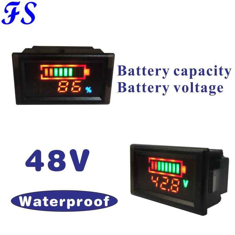 DC48V Lead-acid Lithium Battery LED Voltmeter Meter Battery Capacity Tester Indicator Monitor Analyzer E-bike Car 48V Motocycle