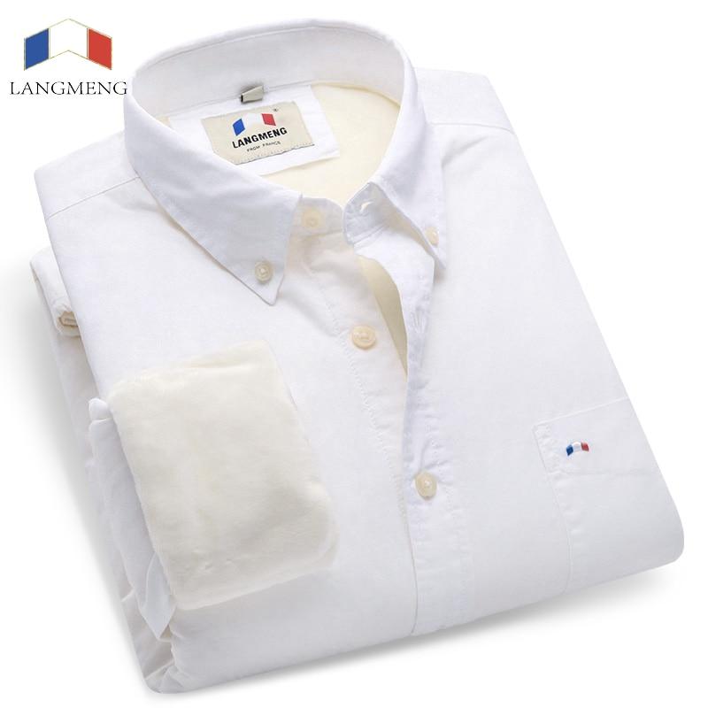 Langmeng men winter warm dress shirt cotton velvet casual oxford shirts camisa masculina men clothes white black solid shirts
