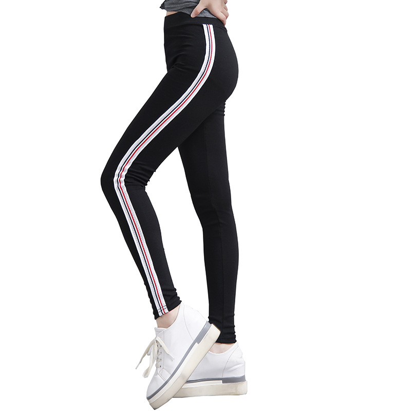 89eb397bf12bf New Autumn Cotton Stripes Leggings Fashion Slim Women Elastic Legging Pants  High Waist Fitness Jeggings Casual Female Trousers