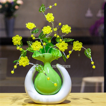Modern Creative U Gourd Shape Ceramic Vase Ornaments Artificial Flower Living Room Table Hotel Home Furnishing D-22A/1020