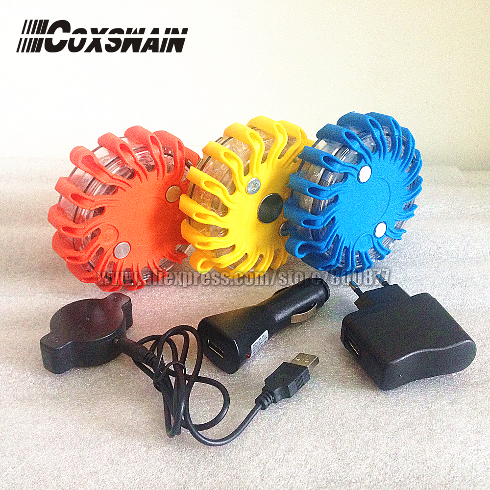 Oppladbart LED trafikksikkerhetsvarsling, 9 blitzmønster, Magnetisk enkel installering, vanntett, 16 LED (TBD-0011)