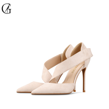 Купить с кэшбэком GOXEOU 2019 New Women shoes sandles High Heels Sexy Pointed Toe Flock Buckle Wedding Office Handmade  Free Shipping size32-46