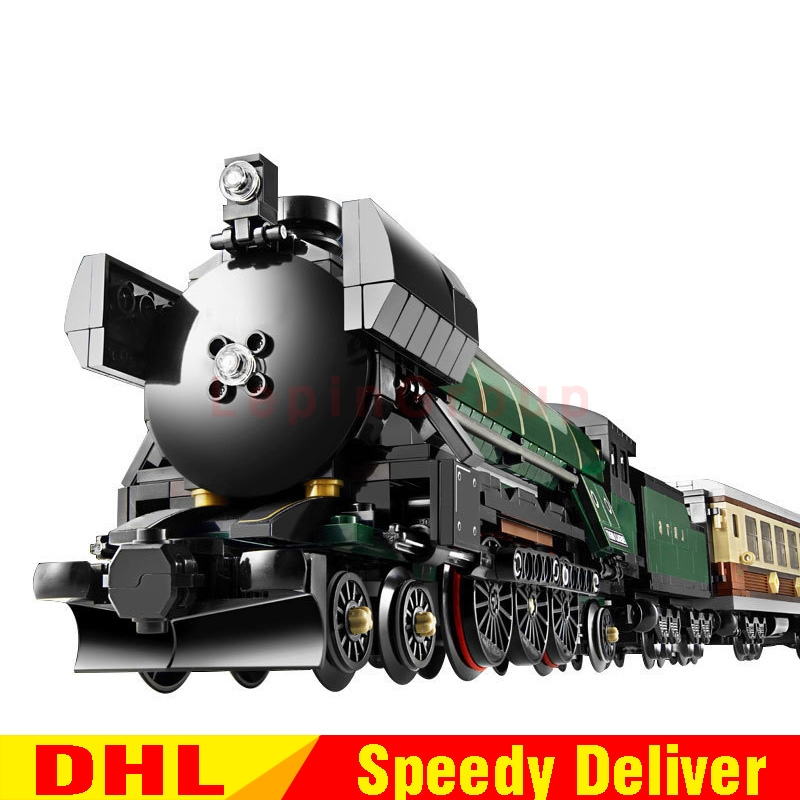 LP 21005 1085Pcs Technic Series Emerald Night Train Model Building Kit Block Bricks LPings Toys  Clone 10194