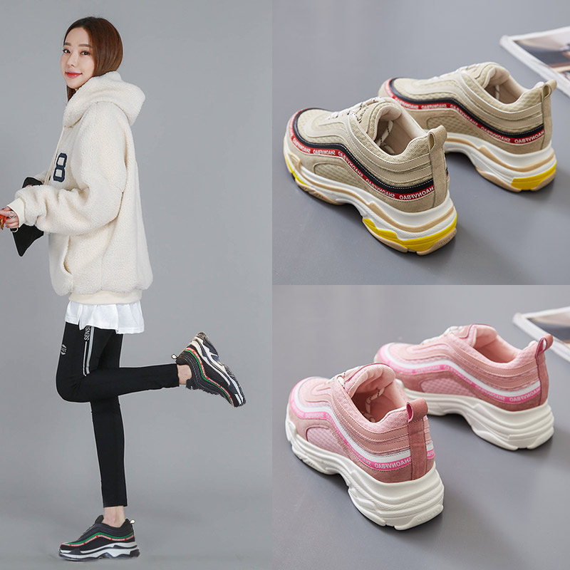 Plate Véritable Voyage Occasionnels black Mode Chaussures Net Automne ever beige Femmes Printemps Pink Wedge forme En Maille Cuir Yd Respirant Sneakers 10CqwW