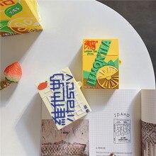 Novo design vitasoy vita limão chá garrafa de bebida fones ouvido casos para apple airpods 1 2 silicone capa proteção acessórios