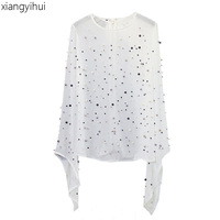 High Quality Fashion Rock Punk Pearl Beading Blouse Women Black White Flare Sleeve Chiffon Shirt Casual