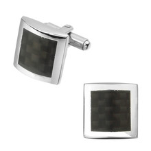 Men's shirts Cufflinks high-quality copper material Square carbon fiber Cufflinks 2 pairs of packaging for sale
