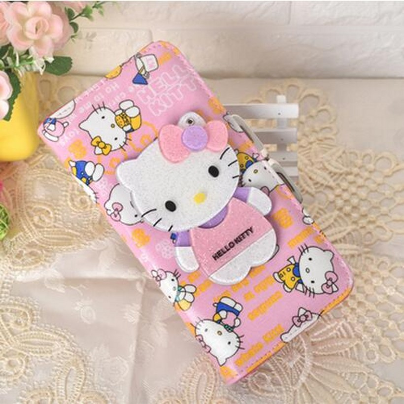 Mirror long short cute hello kitty students dollar price women leather wallets coin pures carteira feminina couro 40 2017 new brand pu leather women long wallets solid clutch coin purse dollar price card holders vintage carteira feminina a1656