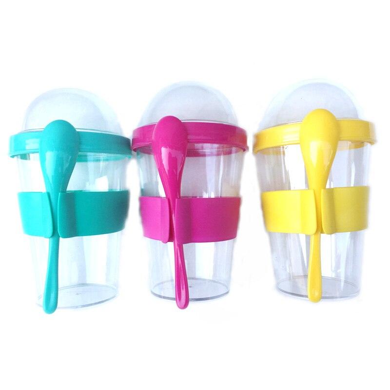 400ml Yogurt Container With Spoon Ice Cream Cup Water Bottle Drinking Bottles School Office Drinkware Tea Milk Juice Cup