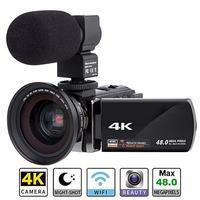 Цифровой HD видео Камера 4k WiFi Ultra 1080 P 48MP 16X зум видеокамеры + микрофон + Широкий формат объектив Главная Применение Камера видео Регистраторы
