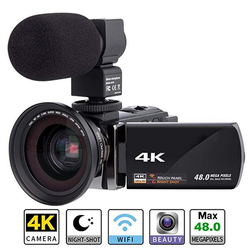 Digital HD Video Camera 4K WiFi Ultra 1080P 48MP 16X ZOOM Camcorder+Microphone+Wide Angle Lens Home Use Camera Video Recorder 16x zoom digital camera dv wifi 4k 1080p camcorder mic wide angle lens uk