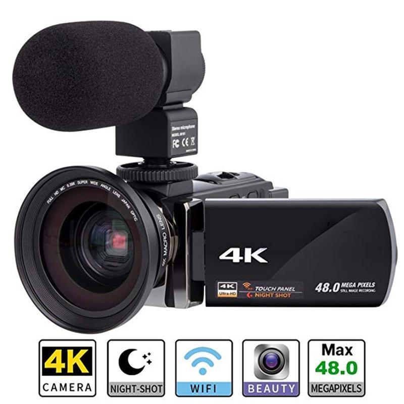 Numérique HD Caméra Vidéo 4 k WiFi Ultra 1080 p 48MP 16X ZOOM Caméscope + Micro + Objectif Grand Angle usage domestique Caméra Enregistreur Vidéo