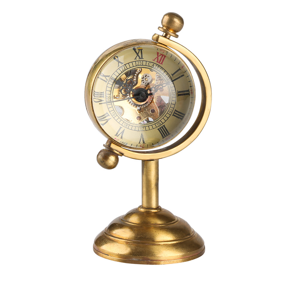 Spinning Globe Gold Desk Clock For Men Creative Watches Home Decoration For Women Copper Table Clock Hand-winding Movement