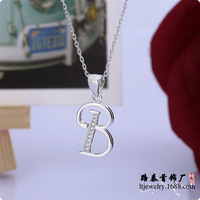 BLAL002 NEW 925 Sterling Silver CZ Alphabet Initial B Letter Pendants With Chains Necklace Jewelry Free