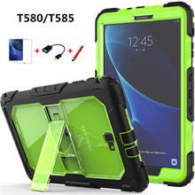 For Samsung Galaxy Tab A 10.1 T580 T585 Cover Kids Safe Shockproof Heavy Duty Silicone+PC Kickstand Case w/ Wrist+Shoulder Strap
