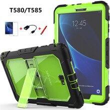 Voor Samsung Galaxy Tab EEN 10.1 T580 T585 Cover Kinderen Veilig Shockproof Heavy Duty Silicone + PC Kickstand Case w /pols + Schouderriem