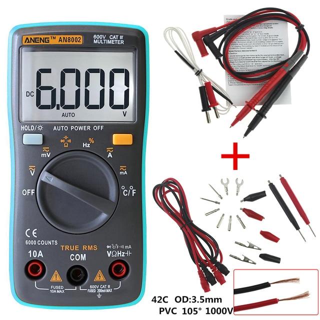 ANENG AN8002 Digital Multimeter 6000 counts Backlight AC/DC Ammeter Voltmeter Ohm Portable Meter