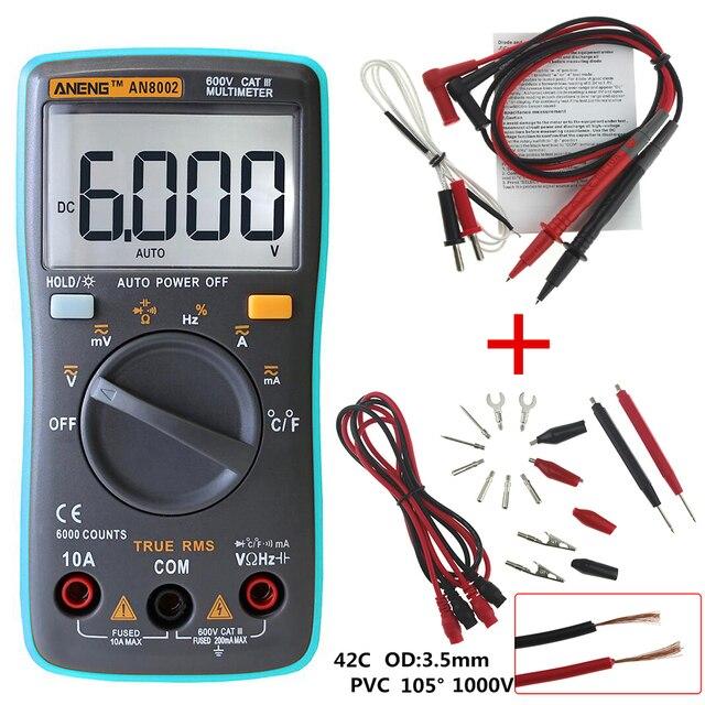 Aneng AN8002 Цифровой мультиметр 6000 отсчетов подсветки AC/DC Амперметр Вольтметр Ом портативный измеритель