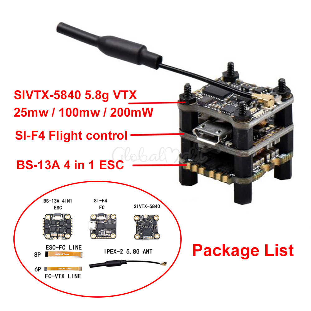 Flytower SIF4 F4 de Control de vuelo w/BEC 2A CES BS-13A 13A a 2-4 S 4IN1 ESC + SIVTX-5840 25/100/200 mW transmisor OSD ajuste