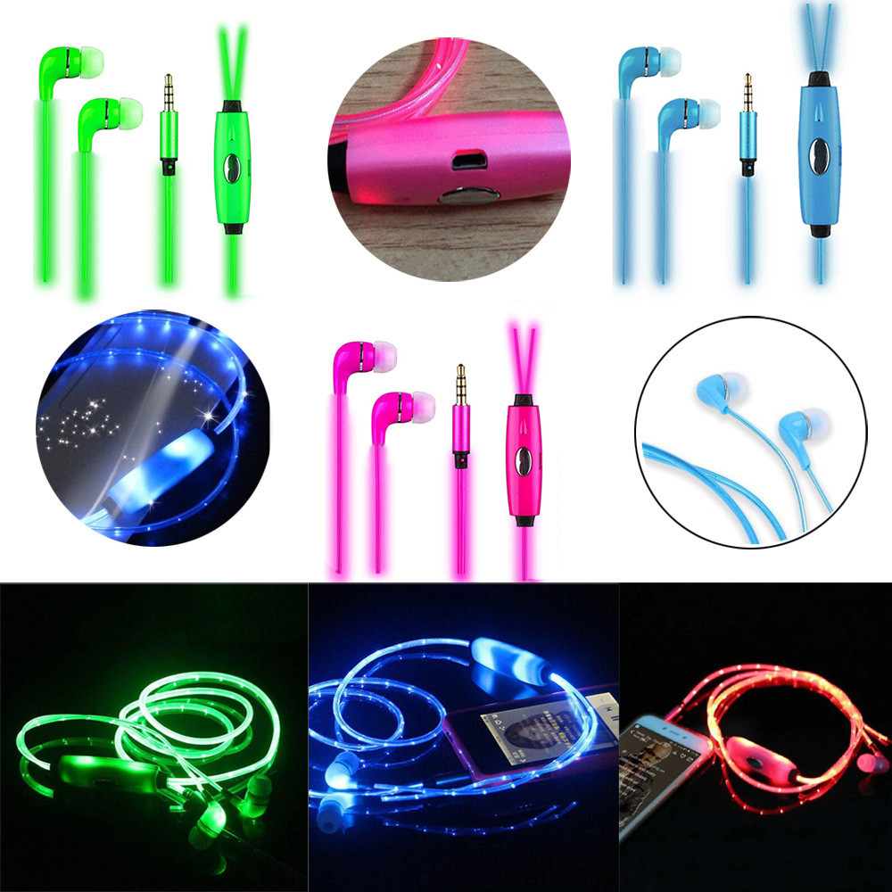 1M Earphone LED Luminous In ear Earphone Glow Stereo Low power LED For IPhone for Xiaomi ...