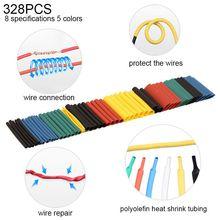 цена на 127/164 /328 /530 Pcs Heat Shrink Tubing Shrinkable Tube Polyolefin Internal Diameter Tube Assortment Wrap Wire Kit Cable Winder