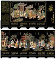 Мини складной Экраны 6 присоединился к панели декоративные роспись по дереву бебу портрет преподавания Конфуция Saint дела 48x24 см