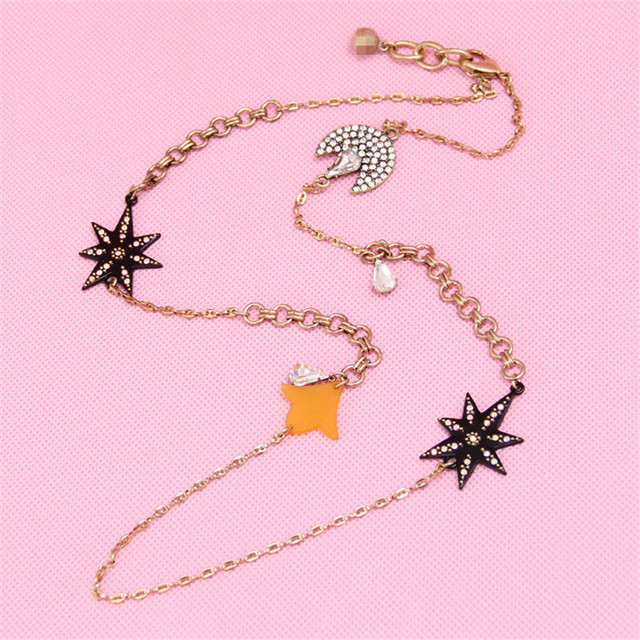 xq Free shipping 2015 The stars and the moon crescent fringe elements from the stars you party Jewelry Necklace gifts for girls