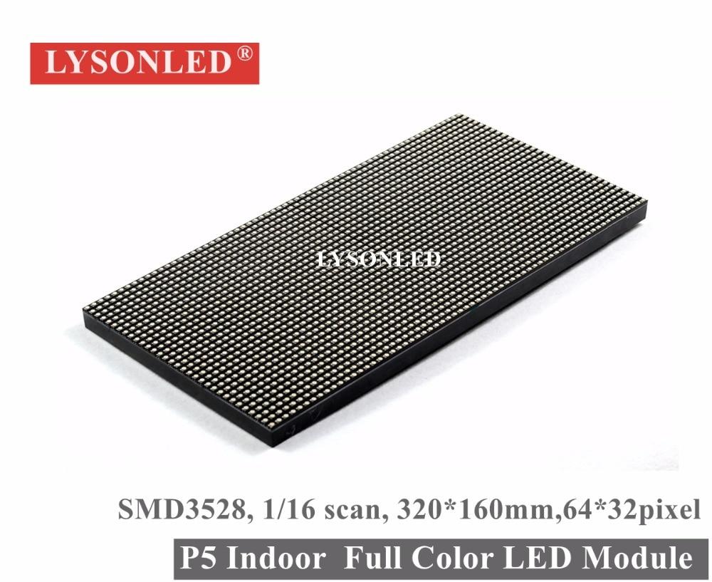 LYSONLED P5 Indoor SMD3528 Full Color LED Display Module 1/16 Scan 320*160MM, P5 Indoor RGB 3-IN-1Led Display Panel 64*32 Pixels