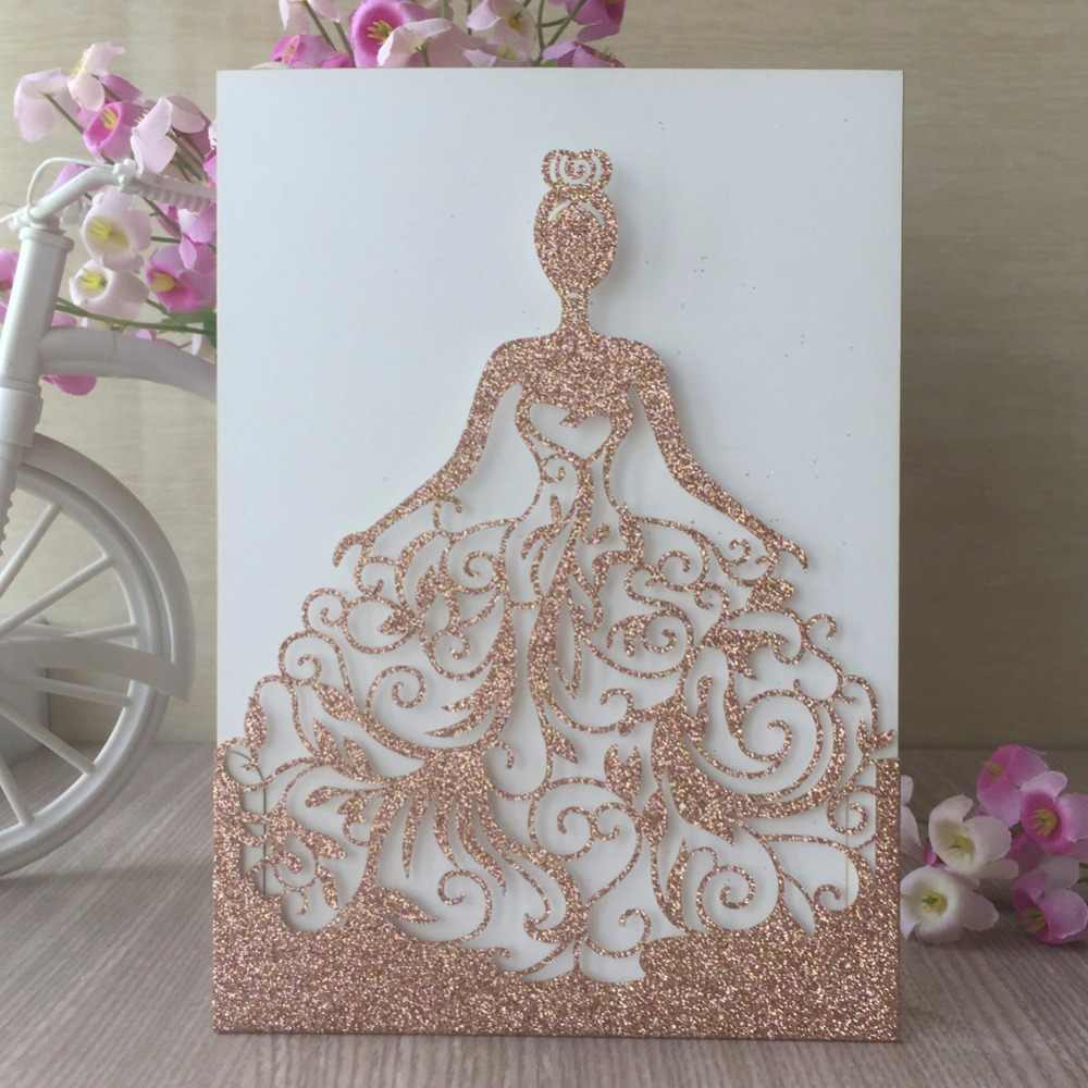 20pcs Laser Cut Glitter Paper Craft Rose Gold Color Wedding Party Decoration Invitation Card 15th Birthday Blessing Paper Card Cards Invitations Aliexpress