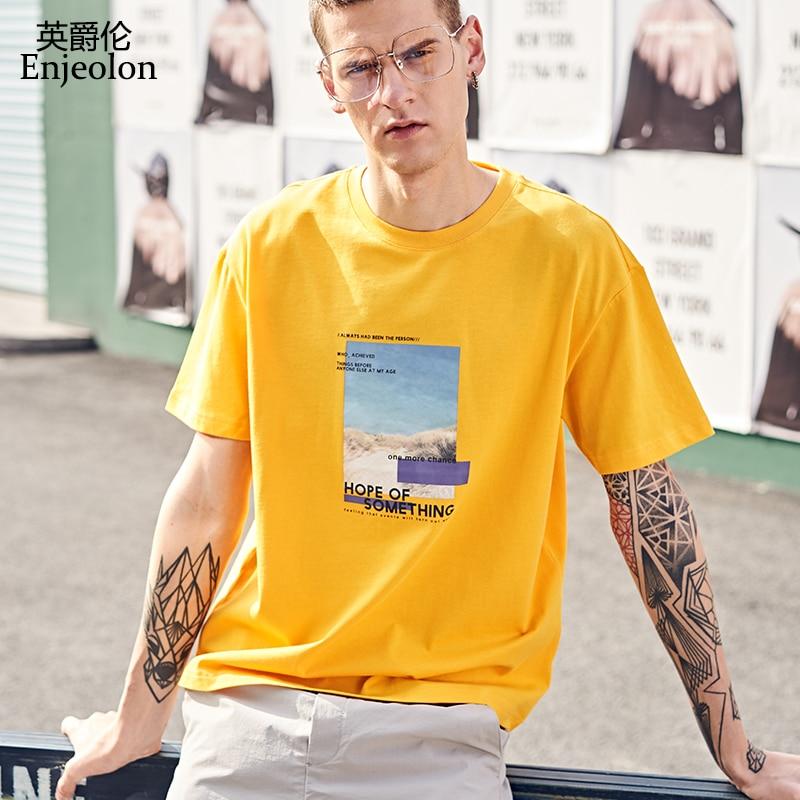 Enjeolon Tshirt Men Summer Short Sleeved O-neck Print Cotton Streetwear Casual Male Tee Shirts T3901