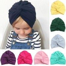 Дизайн, милая хлопковая детская шапка, мягкая шапка-тюрбан с узлом для девочек, летняя шапка в богемном стиле, детская шапка для новорожденных девочек