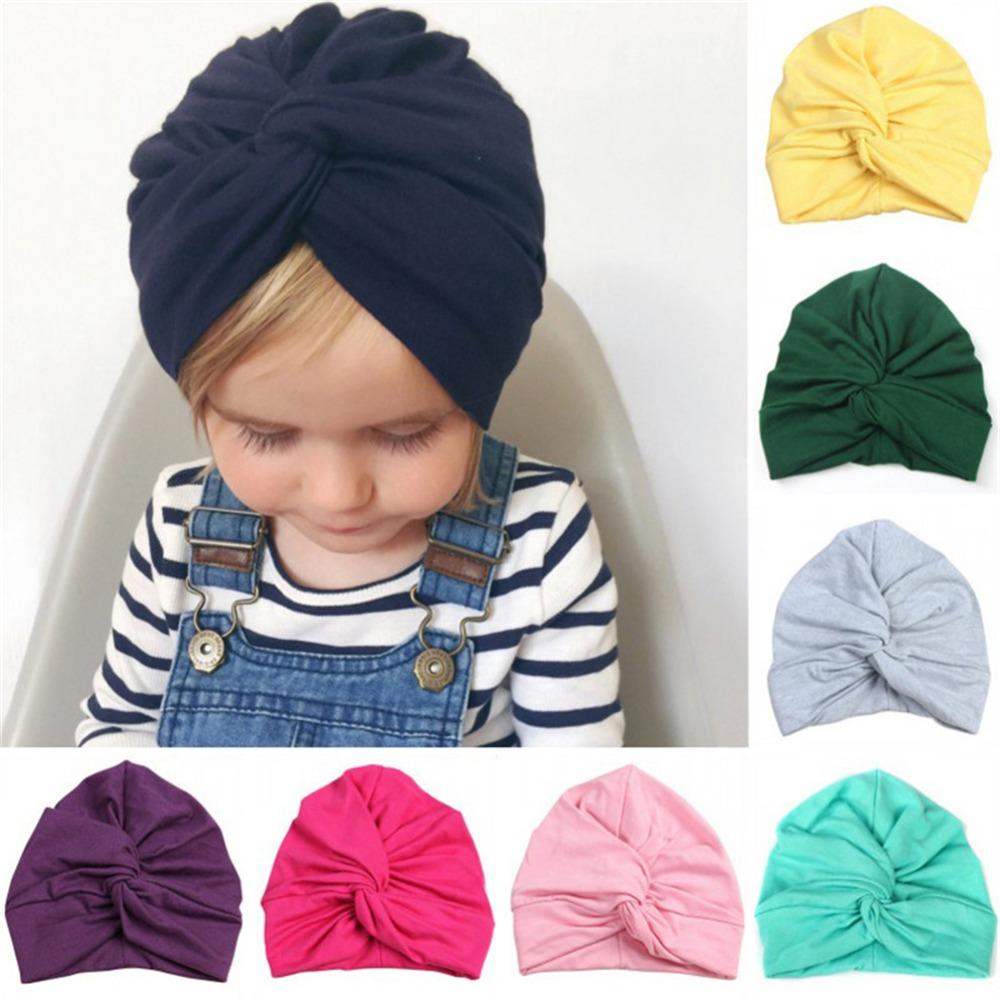 New Designed Cute Baby Hat Cotton Soft Turban Knot Girl Summer Hat Bohemian style Kids Newborn Cap for baby girls new women turban twist headband head wrap twisted knotted knot soft hair band bohemian pattern style
