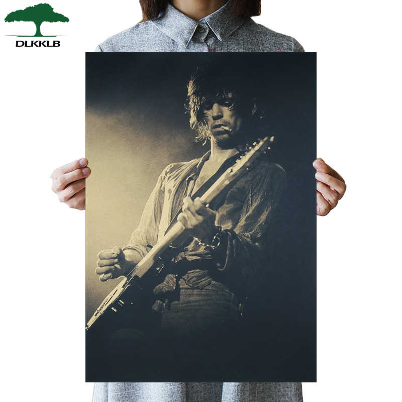 DLKKLB Rolling Band Also Poster Guitarist Ronnie Wood Vintage Poster Bar Cafe Decoration Painting Rock Music Retro Wall Stickers