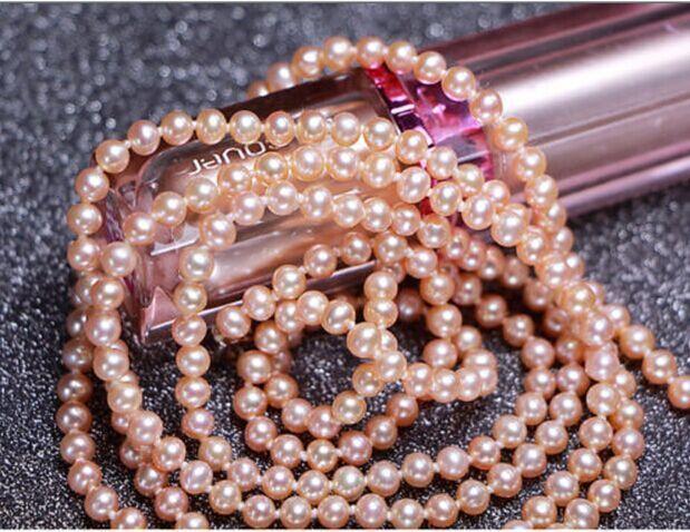 Magnifique 7-8mm mer du sud or rose collier de perles 38 pouces 925 argent