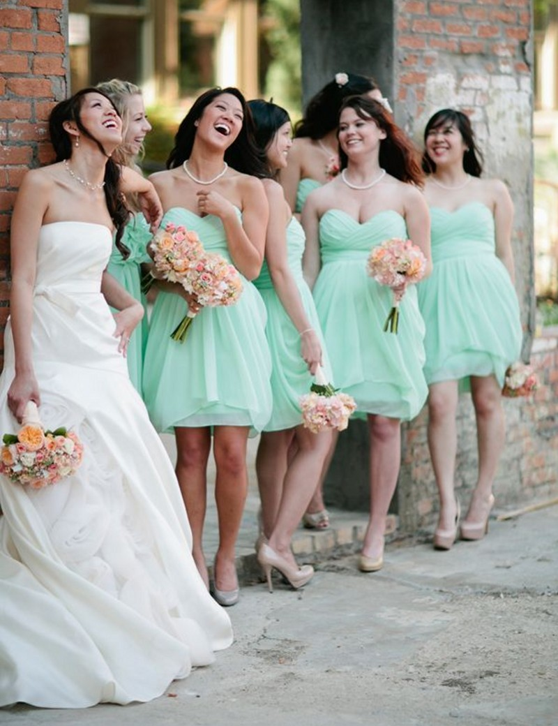 Mint Green Bridesmaid Dress Navy Blue Peach Yellow Off The Shoulder ...