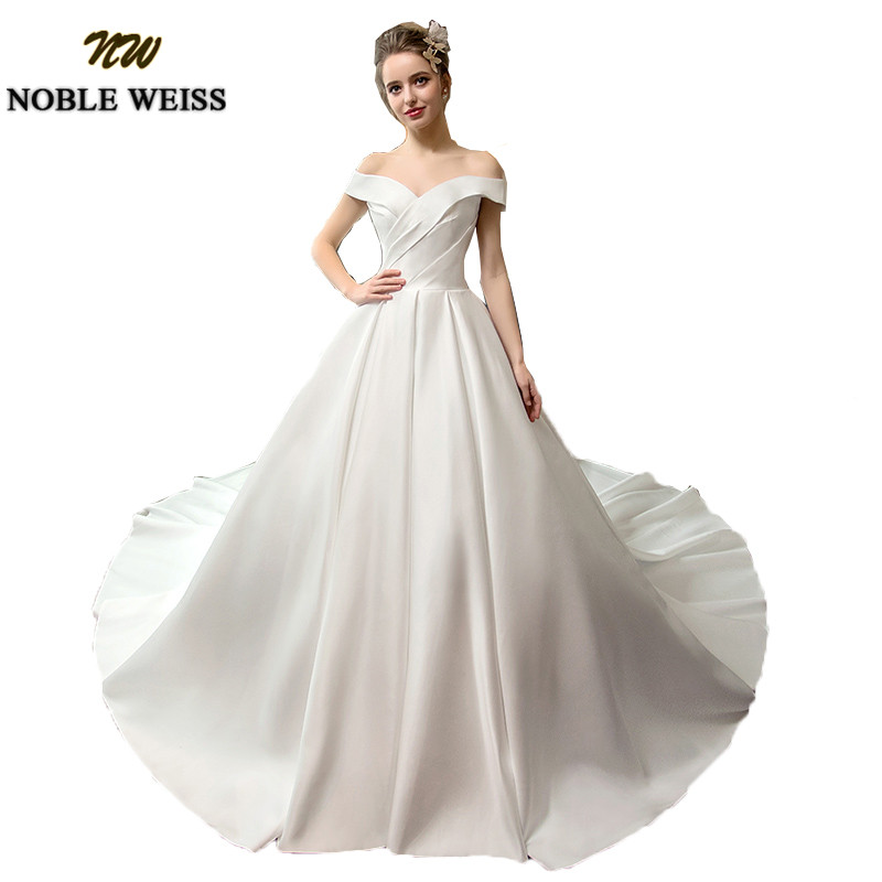 Noble Weiss Luxury Satin White Wedding Dresses A Line Long Court