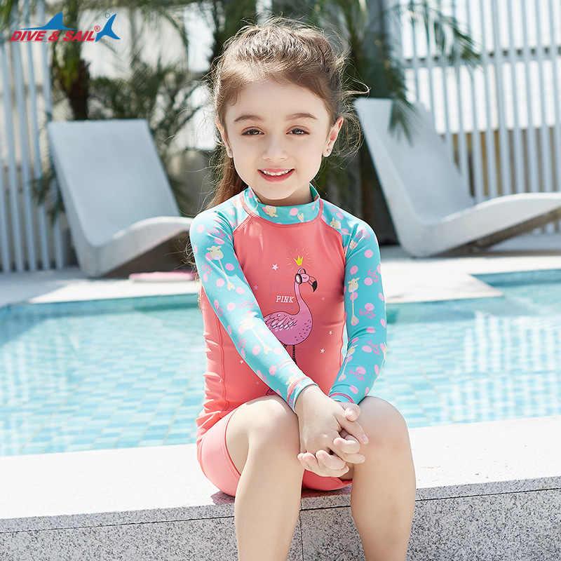 Musim panas Swimsuit 2018 perempuan Laki-laki Ruam Pengawal Lengan Panjang Dua potong Pakaian Renang Set Lucu Anak-anak Pakaian Renang Bayi Laki-laki berenang Pakai