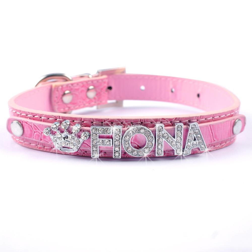 Personalized Diy Name Dog Collar Crocodile PU Leather Puppy Cat Collar with 10MM Rhinestone Letters Charms Free XS S M L 4 Color