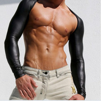 Men Sexy Leather Tank Tops Breathable Mesh Vest Man T Shirt Sleeves Tight Protection Sleeve Catwalk