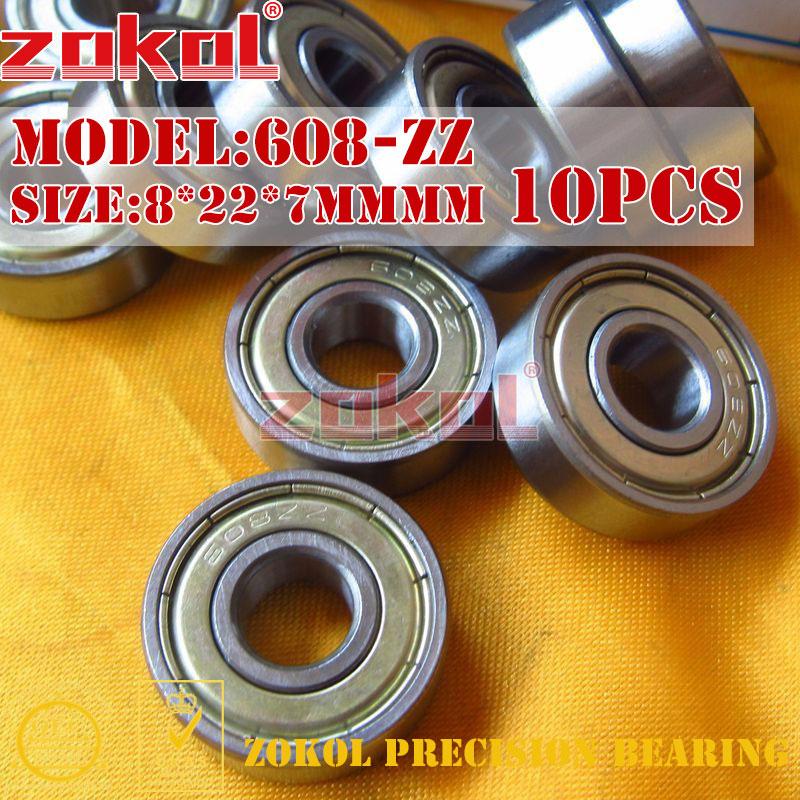 ZOKOL bearing 10PCS 608 ZZ Miniature  608-ZZ 608ZZ 80018 Deep Groove ball bearing 8*22*7mm