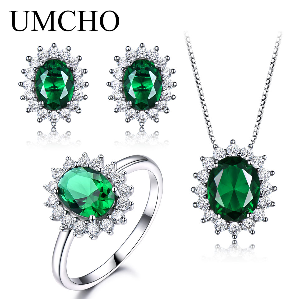 UMCHO 925 Sterling Silver Jewelry Set Nano Green Emerald Ring Pendant Stud Earrings For Women Brand Fine Jewelry Top Quality classic 10 75ct nano russian emerald ring emerald cut solid 925 sterling silver ring set best brand fine jewelry for women