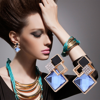Hot Fashion Vintage Long Square Crystal Stud Earring Big Geometric Classic Gold-Color Fine Jewelry 1