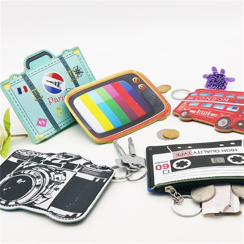 Want Go British Style Women Coin Purses 3D Kawaii Coin Holders Bag Leather Zipper Pocket Storage Bag Mini Change Wallet Purses