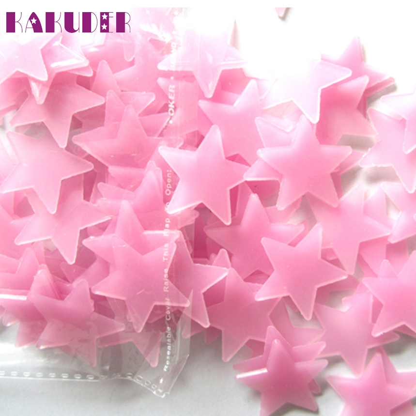 KAKUDER Top Grand 100Pcs 3D Stars Glow In The Dark Luminous Fluorescent Plastic Wall Stickers Home