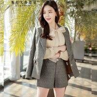 original 2018 brand spring small coat england style slim casual coffee plaid vintage blazer women wholesale