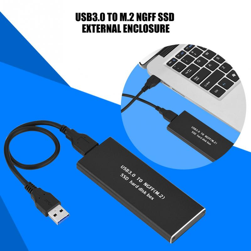 USB3.0 to M.2 NGFF SSD Hard Disk Enclosure 256G Black