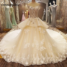 LS76325 China crystal wedding gowns beading ball gown corset back wedding dresses turkey ivory and champagne real photos