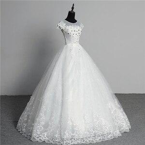 Image 3 - Custom Made Wedding Dress 2020 New Arrival Crystal Appliques Embroidery Lace O Neck Short Sleeve Princess Gown Vestidos De Novia